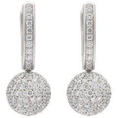 Diamond and 18 Karat White Gold Earrings by Gubelin