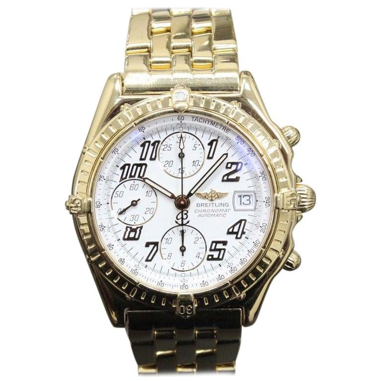 Breitling Chronomat Chronograph K13050.1 Solid 18 Karat Yellow Gold Dial