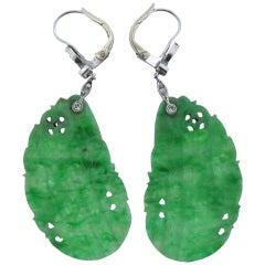 Gold Diamond Carved Jade Drop Earrings