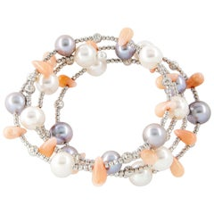Grey and White Pearl Spiral Bracelet with Coral Beads and White Gold Beads