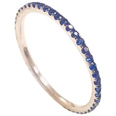 Ladies 14 Karat White Gold Round Sapphire Ring