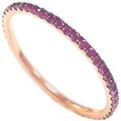 Ladies 14 Karat Pink Gold Round Ruby Ring