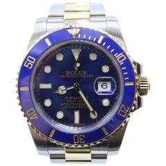 Rolex Submariner 116613 Blue Ceramic 18 Karat Gold Stainless Steel Box and Paper