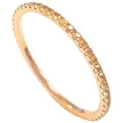 Ladies 14 Karat Yellow Gold Round Yellow Sapphire Band