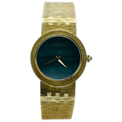 Piaget Vintage 18 Karat Yellow Gold, Malachite Dial Bracelet Watch