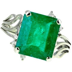 4.93 Carat Emerald and Diamond White Gold Ring