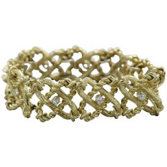 Schlumberger Tiffany & Co. 2 Carat Diamond and Gold X-Linked Bracelet