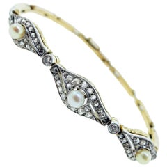 Antique Edwardian 18 Karat Natural Pearl and Diamond Bracelet