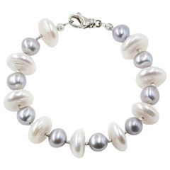 Grey Pearl Bracelet with White Saucer Shaped Pearls