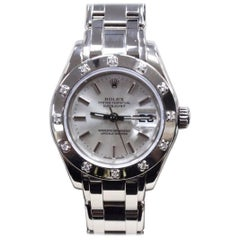 Rolex Ladies Pearlmaster 80319 Original Diamond Bezel 18 Karat White Gold