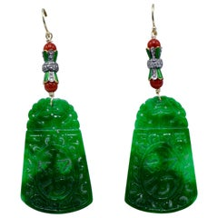 Jade, Coral Enamel Base, Diamond Earrings