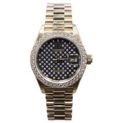 Rolex Ladies President 18 Karat Gold 69138 Factory Black Diamond Dial and Bezel