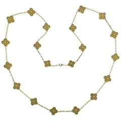 Van Cleef & Arpels Vintage Alhambra 20 Motif Gold Necklace