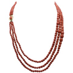 Faceted Coral Bead and 18 Karat Gold Necklace