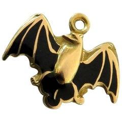 Unique Vintage Enamel Bat Gold Charm Pendant