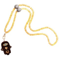 Clarissa Bronfman Ebony, Diamond, Citrine 'Eye Love U' Necklace