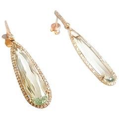 Ladies 14 Karat Yellow Gold Light Green Amethyst and Round Diamond Drop Earring