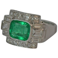 Platinum Art Deco Design 1.15 Carat Emerald and 1.00 Carat Diamond Ring