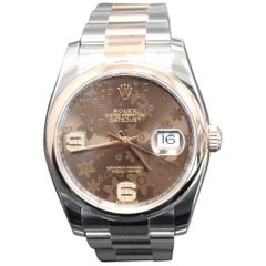 2017 Rolex Datejust 116201 Floral Dial 18 Karat Rose Gold and Steel