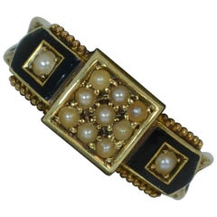 1887 Victorian 15 Carat Gold Enamel Pearl and Braided Hair Mourning Ring
