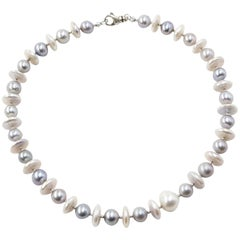 White Coin Pearl and Grey Pearl Necklace with Silver Diamond Cut Beads