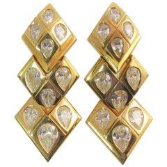 Susan Berman 18 Karat Yellow Gold Flexible Pear Shape Diamond Drop Earrings