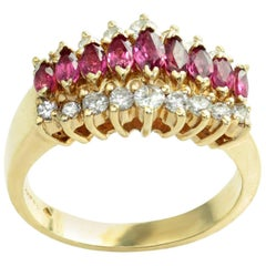 Diamond Marquise Ruby Yellow Gold Ring