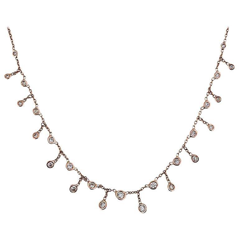 14 Karat Gold Graduated Diamond Shaker Choker Necklace