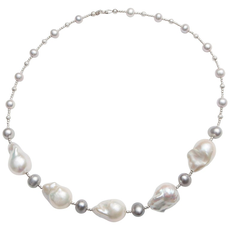 Grey Pearl Necklace with Five White Baroque Pearls and Diamond Cut Beads For Sale