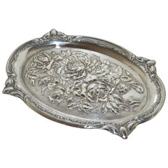 1906 Edwardian Art Nouveau Chester Silver Floral Rose Design Tray