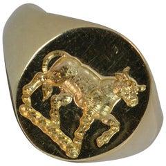 Quality 9 Carat Gold Prancing Bull Intaglio Seal Signet Ring