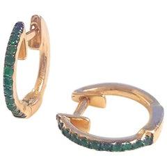 Ladies 14 Karat Yellow Gold Round Green Garnet Hoop Earring