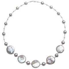 Grey Pearl Necklace with Five-Coin Pearls and Diamond Cut Beads