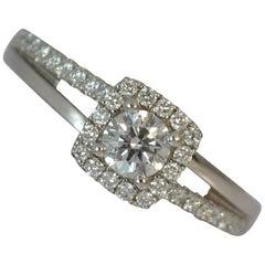 VS 0.53 Carat Diamond and Platinum Halo Cluster Engagement Ring