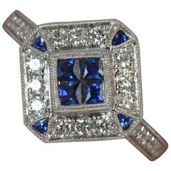 Art Deco Design Sapphire and Diamond 18 Carat White Gold Cluster Ring