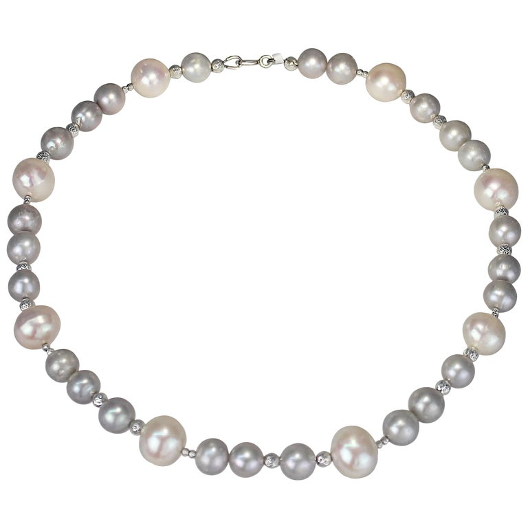 Grey and White Freshwater Pearl Necklace with Diamond Cut Beads