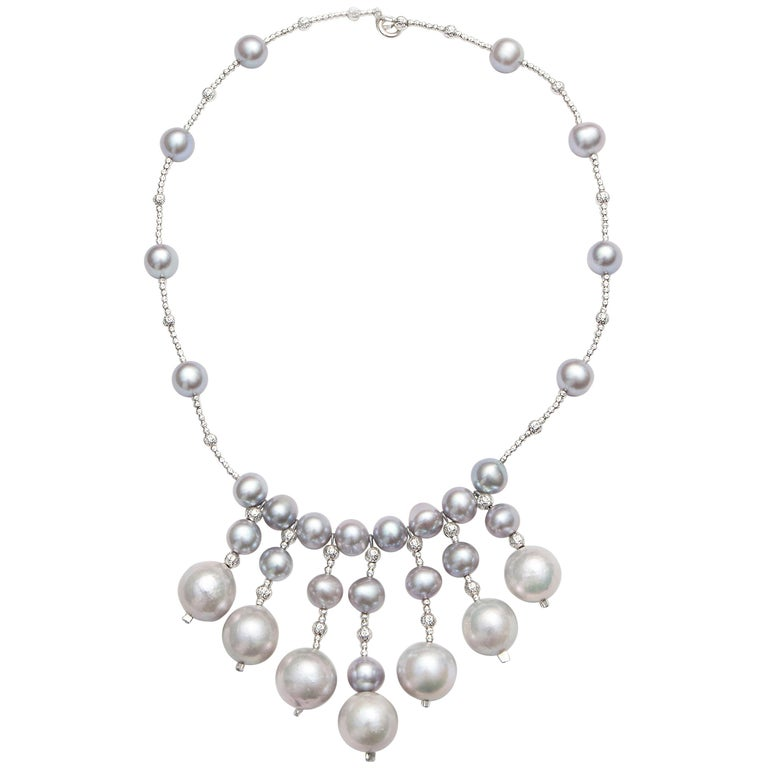Freshwater Grey Pearl Necklace with Diamond Cut Beads
