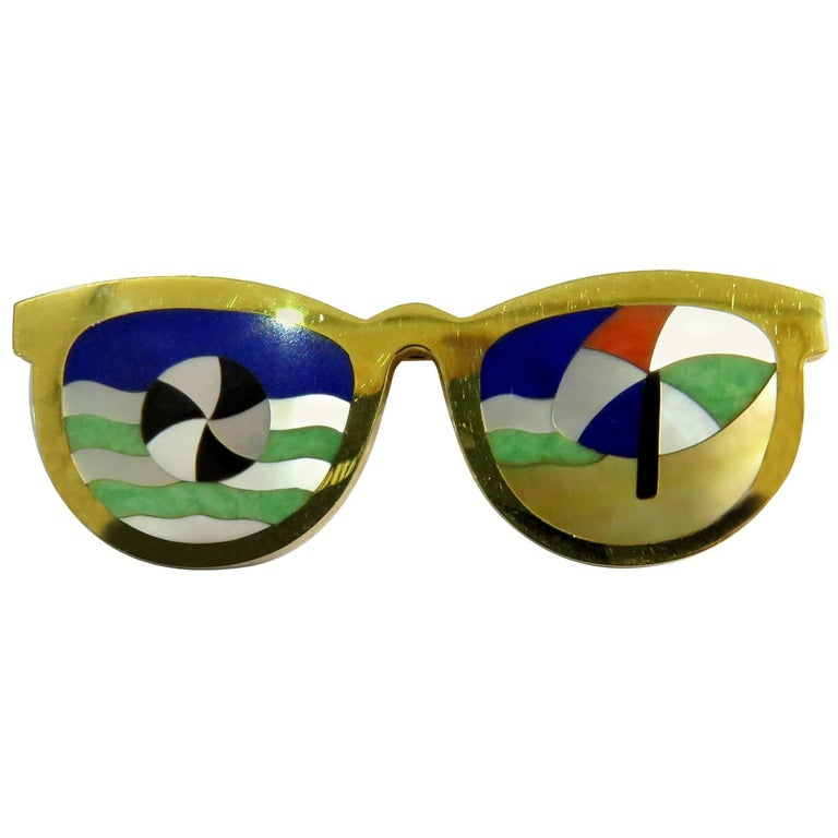 Phenomenal Multi Hard Stone Sunglasses Reflecting Beach Scene Gold Pin Brooch For Sale