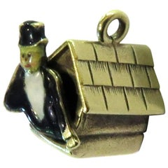 "Exceptional Rare Art Deco ""Man in the Doghouse"" Enamel Gold Love Charm Pendant"