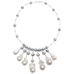 Grey Pearl Necklace with 7 Large Baroque Dropped Pearls
