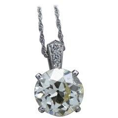4.6 Carat, Platinum and European Cut Diamond Necklace