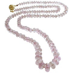 Graduated Pink Morganite Silk Knotted Opera Necklace With 14k Gold Diamond Clasp