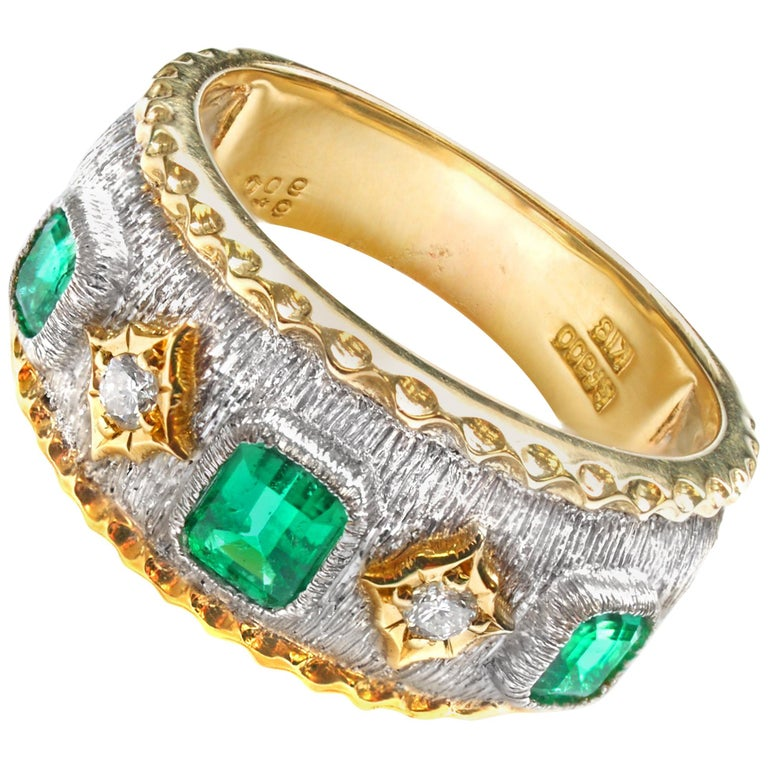 Emerald Diamond Platinum Gold Band Ring For Sale
