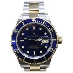 Rolex Submariner 16613 Blue Dial 18K Gold & Stainless Steel Gold Through Buckle