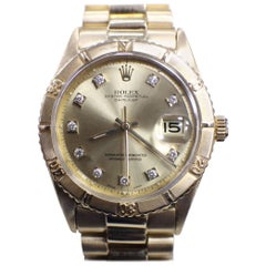 Vintage Rolex Datejust Thunderbird 18 Karat Yellow Gold 1625 Diamond Dial