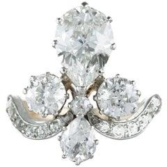 """Original Antique Tiara Ring or """"Bague Duchesse"""" Total Carat Weight 3.7 Carat"""