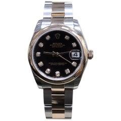 2015 Rolex Midsize 18 Karat Rose Gold and Steel 178241 Diamond Dial