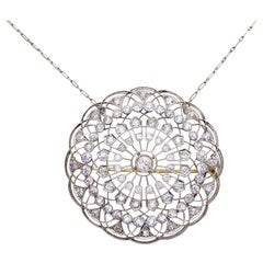 Victorian 4.97 Carat Diamond Circular Platinum Pendant and Brooch
