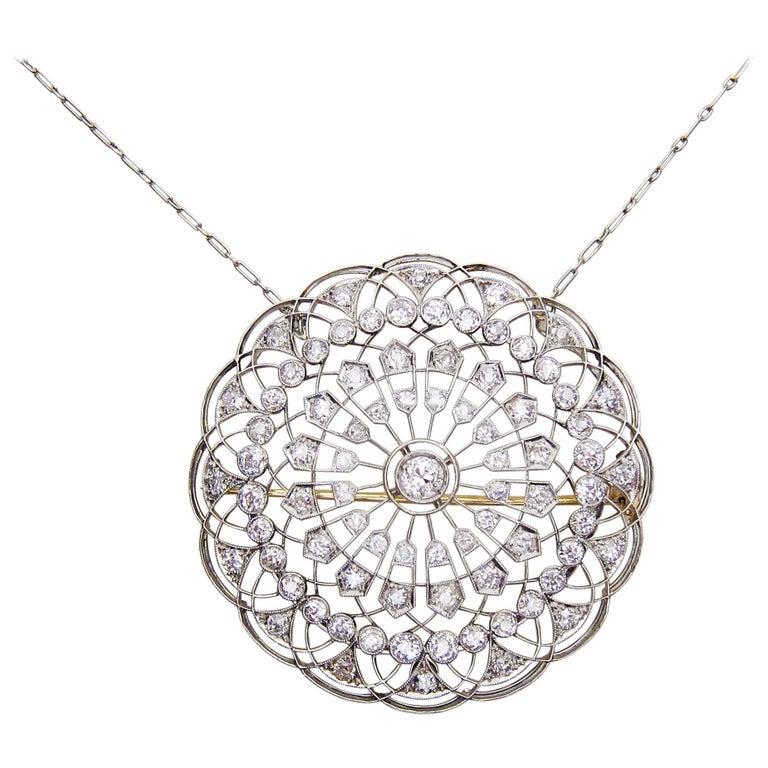 Victorian 4.97 Carat Diamond Circular Platinum Pendant and Brooch