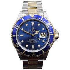 Rolex Submariner 16613 Blue 18 Karat Yellow Gold and Stainless Steel